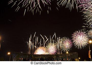 Beautiful firework in The National Olympic Stadium Bird's Nest in Beijing of China