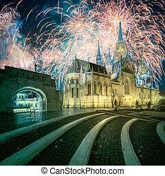 Beautiful fireworks above Fishermen's bastion in Budapest, Hungary