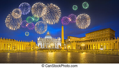 Beautiful fireworks above Saint Peter's Square, Vatican, Rome