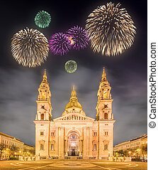 Beautiful fireworks above St. Stephen's Basilica