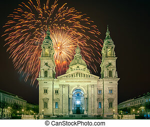 Beautiful fireworks above St. Stephen's Basilica and square in Budapest