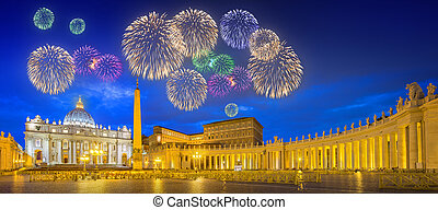 Beautiful fireworks above Vatican. Saint Peter's Square at night, Rome