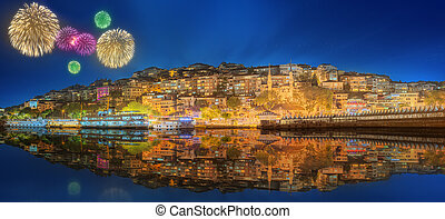 Beautiful fireworks and cityscape of Istanbul