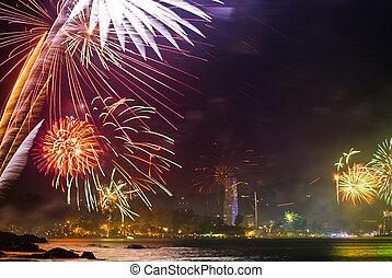 beautiful fireworks celebrating new year on patong beach