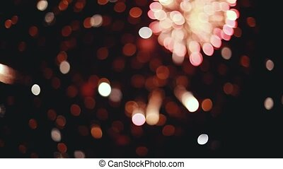 Beautiful fireworks. Colorful bright pyrotechnic show, flashes of salute firework of different colors.