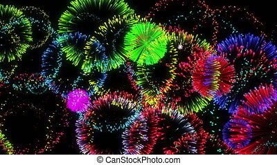 beautiful fireworks. computer generated seamless loop christmas animation