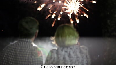 Beautiful fireworks display - A shot of people having their...