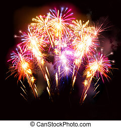 Beautiful Fireworks Display - Colourful golden and pink...