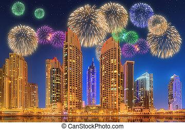 Beautiful fireworks in Dubai marina. UAE - The beauty...
