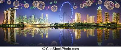 Beautiful fireworks in Marina Bay, Singapore Skyline -...