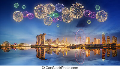 Beautiful fireworks in Marina Bay, Singapore - Beautiful...