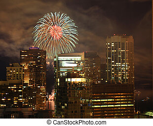 Beautiful fireworks in the city