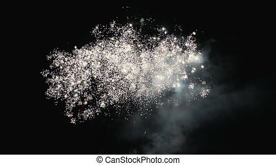 Colorful multi-colored fireworks lights in the night sky. Celebratory salute
