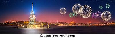 Beautiful fireworks near Maiden Tower, Kiz Kulesi