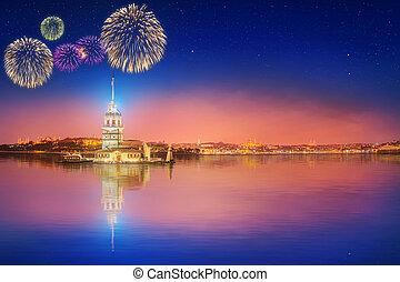 Beautiful fireworks near Maiden Tower or Kiz Kulesi Istanbul...