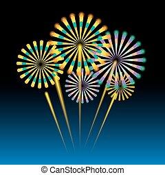 Beautiful fireworks on dark blue