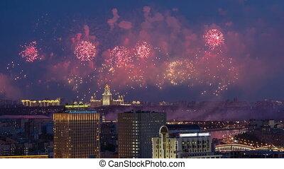 Beautiful fireworks on Lomonosov Moscow State University...