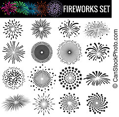Beautiful Fireworks on white  background
