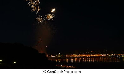 Beautiful Fireworks over the Bay at the national day...