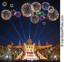 Beautiful fireworks under Magic Fountain in Barcelona -...