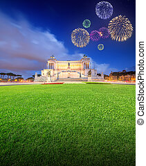 Beautiful fireworks under National Monument to Victor Emmanuel II