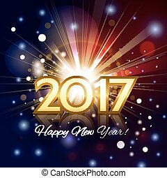 Beautiful fireworks with  greetings Happy New Year 2017!