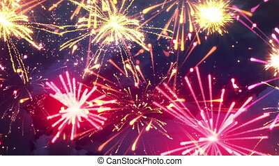beautiful fireworks with lots of multicolor bangs loopable -...