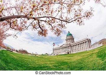 Beautiful fish-eye view of Utah Capitol building