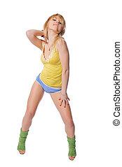 Beautiful fit girl exercising on white background