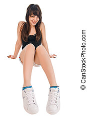 Beautiful fit girl on white - Beautiful fit girl isolated on...