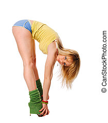 Beautiful fit stripper exercising on white background
