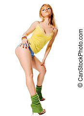 Beautiful fit stripper exercising on white background -...