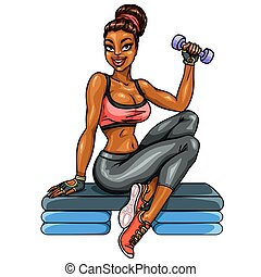 Beautiful fit woman working out with dumbbell.