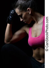 beautiful fitness woman resting