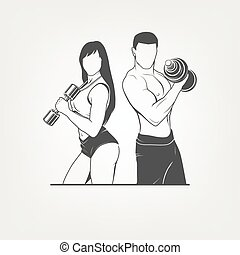 Beautiful fitness young sporty couple with dumbbells....