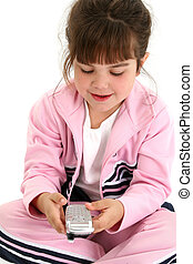 Beautiful Five Year Old Girl In Pink Workout Clothes With Cellphone