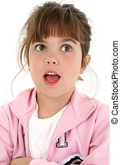 Beautiful Five Year Old Girl Looking Surprised