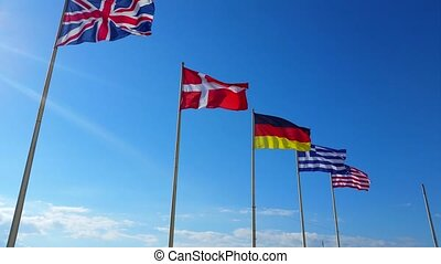 Beautiful Flags of The World Wave on a Wind 2