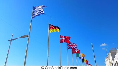 Beautiful Flags of The World Wave on a Wind