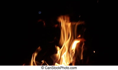 beautiful flames burn at night slow motion