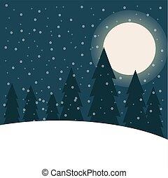 Beautiful flat design Christmas landscape