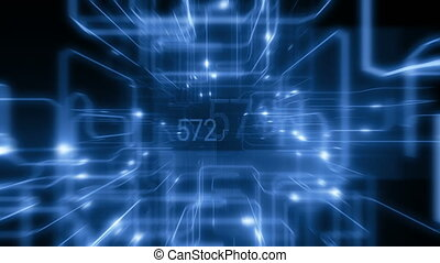 Beautiful Flight Inside CPU with Electrons Running Through Lines. Digital Code With Bright Flashes and Glowing Numbers. Looped 3d Animation Frames 200-400. Digital Technology Concept. 4k UHD 3840x2160.