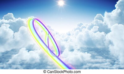Beautiful Flight of Rainbow Colored Trail Through the Clouds Seamless. Looped 3d Animation of Flowing Futuristic Stroke Stream in the Sky. 4k Ultra HD 3840x2160