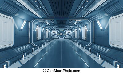 Beautiful Flight Out from the Abstract Futuristic Spaceship Tunnel Through Opening Metal Gates to White Light with Alpha Matte. 3d Animation. 4k Ultra HD 3840x2160