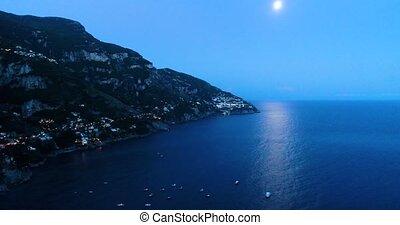 Beautiful flight over Positano at Amalfi Coast in Italy -...