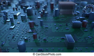 Beautiful Flight Over the Circuit Board. Looped 3d Animation of Motherboard with DOF. Technology and Digital Concept.