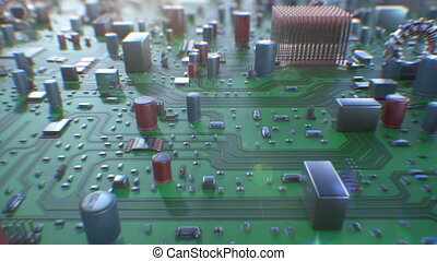 Beautiful Flight Over the Circuit Board with DOF Blur. Looped 3d Animation of Computer Motherboard Close-up. Technology and Digital Concept. 4k UHD 3840x2160.