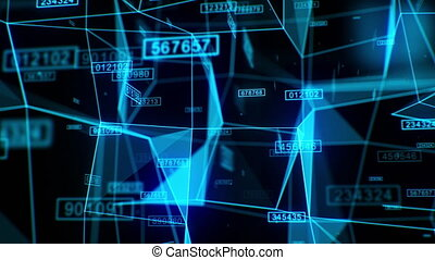 Beautiful Flight Through the Growing Digital Abstract Network Grid with Numbers and Lights Blue Color. 3d Animation with Fast and Slow Motions. 4k Ultra HD 3840x2160.