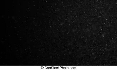 Beautiful Floating Organic Dust Particles on Black Background in Slow Motion. Looped 3d Animation of Dynamic Wind Particles In The Air With Bokeh. 4k Ultra HD 3840x2160.