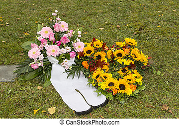 Beautiful floral arrangements on a funeral